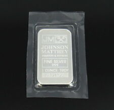 Johnson Matthey - JM 1 Troy Ounce oz .999 Fine Silver Bar - New Sealed!