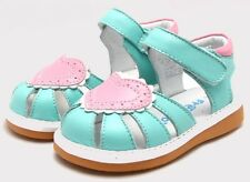 "Freycoo ""Love"" Minty Blue Leather Sandals GIrls"