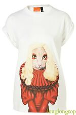 "TAKKODA @ TOPSHOP ICONIC ""LADY GAGA"" DRESS FACE T SHIRT BLOUSE TOP UNIQUE NEW"