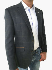 MENS WOOL BLEND TAILORED FIT NAVY TWEED JACKET/BLAZER WITH TAN CHECK