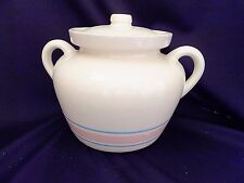 USA McCoy Pottery Blue Pink Stripes COVERED SOUP TUREEN BEAN POT