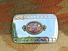 RARE Slocum Opal  Silver Nickel Lady's Western Belt Buckle RARE NEW????