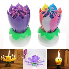 Birthday Cake Topper Blossom Lotus Flower Candles Musical Rotating Party Decor
