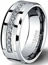 8mm Tungsten Carbide Ring with Brilliant Zircon Mens Wedding Band