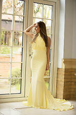 Pastel Yellow Halter Neck Belle Fishtail Maxi Prom Ball Gown Bridesmaid Dress