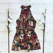 Multicoloured Floral Print High Neck Wrap Summer Holiday Festival Party Playsuit
