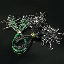 20Pcs Fishing Accessories Fishing Line Steel Wire Leader With Swivel And Snap