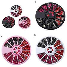 LOVE HEART SHAPED DIY NAIL ART TIPS MIXED COLOR STICKERS 1 WHEEL BOX ALLURING