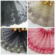"""8"""" * 1yard delicate embroidered flower tulle lace trim for DIY/sewing/craft"""