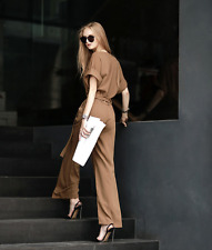 Womens Scoop Neck Short Sleeve Blet Trench Wide Legs Jumpsuits Rompers Pants Top
