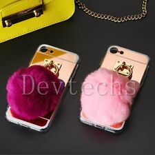 Soft TPU Silicone Rabbit Ear Fur Pom Pom Ball Case Cover For Apple iPhone 7 4.7