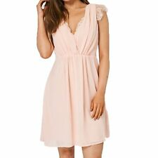 Pretty Pale Pink V-neck dress with lace edging and cap sleeves