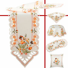 Orange Tulip Butterfly Embroidery Table runner Tablecloth Doily Pillowcase White
