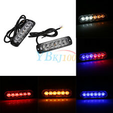 2x 12/24V 6 LED Car Truck Emergency Warning Strobe Light Hazard Flashing 6W DY