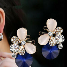 1 pair Pop Rhinestone Elegant Stud Earrings Asymmetric Jewelry Women Butterfly