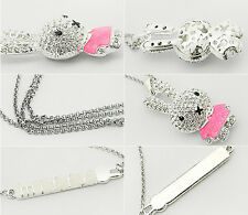 1Pcs Necklace Girls Rhinestone Hot Rabbit Enamel Crystal Pendant Chain Jewelry