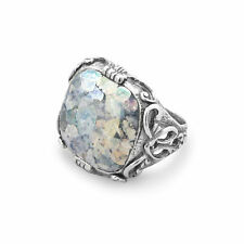 Ancient Roman Glass Ring Square Shape Sterling Silver