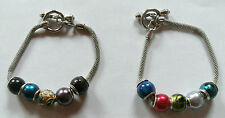 "Silver Toggle European Bracelet With 5 European Charm Beads 8"" Chain ~ Cloisonne"