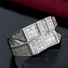Silver Square Iced Out Bling LAB Diamond Hip Hop Steel Stainless 9-11 Men Ring