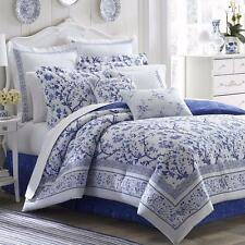 Beautiful Blue White Floral Toile Reversible Designer Cotton Comforter Set
