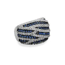 Blue Cubic Zirconia CZ Ring with Black Rhodium over Sterling Silver