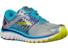 NEW WOMENS BROOKS GLYCERIN 14 RUNNING SHOES TRAINERS SILVER / BLUE ATOLL / LIME