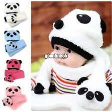 Hot Toddler Infant Unisex Girl Boy Baby Hat Cap Beanie + Scarf Panda Cartoon EA9