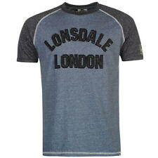 Lonsdale Marl Large Logo T-Shirt Blue New With Tags