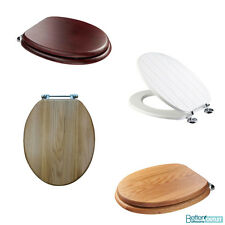 Croydex Adjustable Wooden Toilet Seat Anti-Bacterial Chrome/Brass Hinges WC