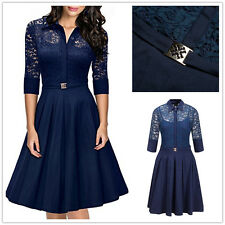 Women's Vintage 1950s Style 3/4 Sleeve Lace Flare A-line Wedding Cocktail Dress