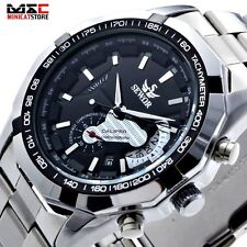 Mens Luxury Steampunk Skeleton Mechanical Analog Stainless Steel Watch Sport New