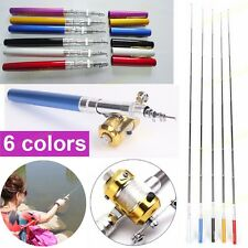 Mini Telescopic Portable Pocket Aluminum Alloy Pen Fishing Tackle Rod Pole Reel