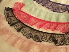 Ruffled Lace Trim, 2 Inches Wide, Assorted Colors, 5 YARDS, Candlewick Lace Trim