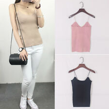 Women Summer Fashion Sleeveless Slim Top Sexy Spaghetti Knit Camisole Intriguing
