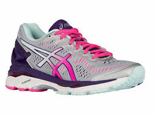 NEW WOMENS ASICS GEL-KAYANO 23 RUNNING SHOES TRAINERS SILVER / PINK GL AA NARROW