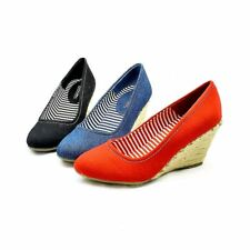 Ladies canvas round toe wedge heel shoes