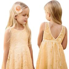 Sweet Baby Girls Lace Summer Dresses Sleeveless Princess Dress Party Wedding C18
