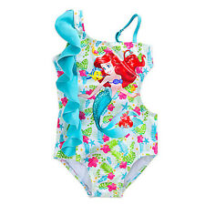 NWT Disney Store Princess Ariel Swimsuit UPF 50+ Girls The Little Mermaid