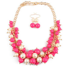 1Set Women Fine Jewelry Pendant Multilayer Beads Earrings Necklace Candy Color