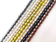 genuine cultured 5-6mm rice drop oval freshwater pearl loose beads USA BY EUB