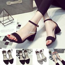 LADIES WOMEN HIGH BLOCK HEEL ANKLE STRAP WEDDING STRAPPY PEEP TOE SANDALS SHOES