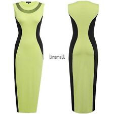 Finejo Women Fashion Sexy Sleeveless Sheer Mech Patchwork Contrast Color LM02