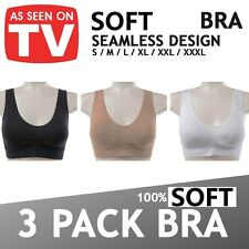 3 Pack WOMENS LADIES SEAMLESS CROP TOP COMFORT BRA SPORTS VEST STRETCH SHAPEWEAR