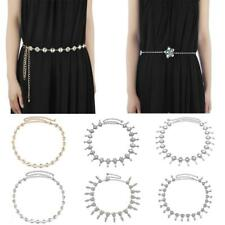 Fashion Womens Ladies Rhinestone Flower Metal Chain Belt Skinny Dress Belts