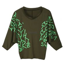 New Batwing Dolman Batwing Sleeve Letter Prints Tops Blouses T-Shirts Hot LM02