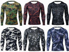 Mens Compression Camouflage Under Base Layer Top Tight Long Sleeve T-Shirts New