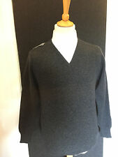 Charcoal Grey 100% Lambswool V-Neck Knitted Jumper
