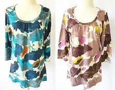 *NEW Patagonia Women KAMALA SCOOP TOP Organic Cotton Floral 3/4 Sleeve Blouse M