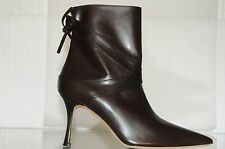 $1295 NEW Manolo Blahnik CLASSIC Ankle Boots Leather Dark Brown Booties Shoes 39