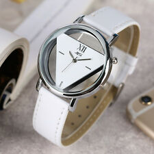 JIS Triangle Dial Leather Strap Women Sport Quartz Wrist Watch Gift For Girl